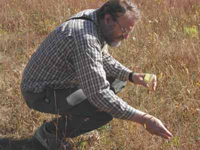 Fred Hook collecting native plant seeds