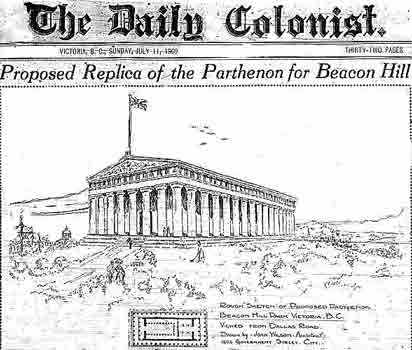 Newspaper sketch of the Parthenon