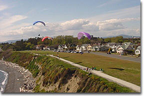 Paragliding above Dallas R. shoreline path