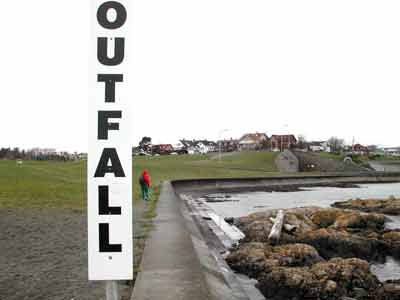 Much concrete on Clover Point;s outfall path