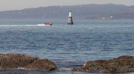 Distance view of Brotchie Ledge light