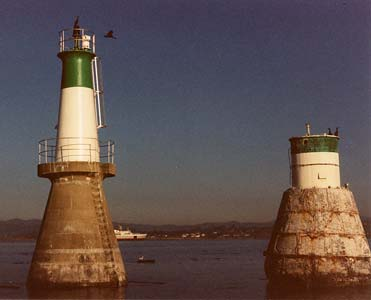 New and old Brotchie Ledge beacons